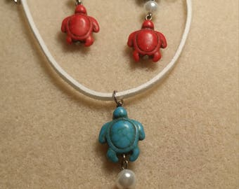 Turquoise turtles with a leather strap necklace
