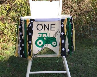 Tractor Birthday Banner John Deere Party Highchair banner