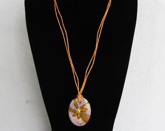 Porcelain pendant, violet, third fire technique, with pearl of river, necklace with pendant, necklace, porcelain, hand painted, flower
