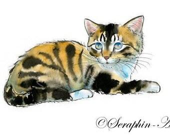 Blue Eyed Tabby Kitten Original Watercolor Painting