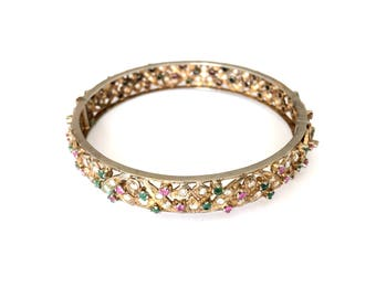 Antique Victorian Goldwash Sterling Silver Emerald Ruby Crystal Bangle Bracelet