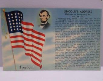 Antique Postcard President Abaham Lincoln's Address Delivered at Gettysburg PA.