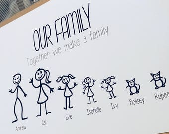 A4 Family Stick People Personalised Picture Gift