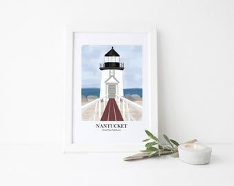 Nantucket Travel Art Print - Brant Point Lighthouse