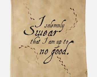 """I Solemnly Swear Up to No Good 40""""x50"""" Minky Blanket Harry Potter Inspired Blanket Harry Potter Gift for Her Gift for Him Gift for Teen Kids"""