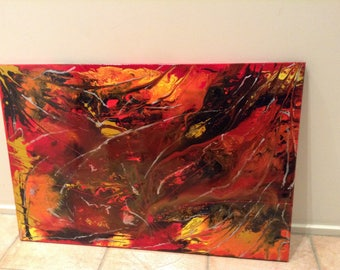 Original Abstract Acrylic Fluid Hand Painting
