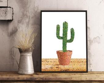 Printable Poster, Art, Living room Decor, Large Printable Poster, Digital Download, Dots, Cactus, Cacti