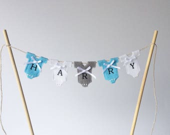 Personalised cake topper. Personalised baby boy bunting . Personalised Baby shower bunting . Personalised boy's cake topper . Baby boy.