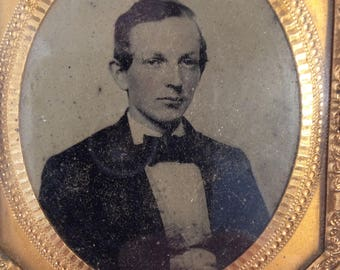 Thermoplastic Case with TINTYPE Photo of a Gentleman
