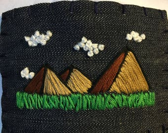 Hand Embroidered Trucker Hat : Mountain Series, mountain art, outdoor lover, nature lover, gifts for girlfriend, gifts for guy, green, cloud