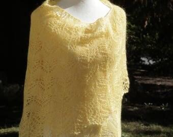 Buttercream Linen - Mohair Lace Shawl