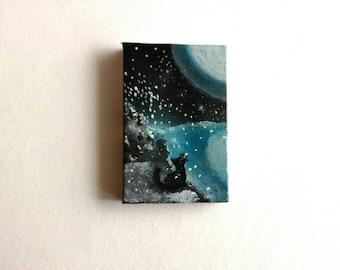 Cat Mini Painting | Canvas Art | Mini Art | Tiny Art | Original Art | Decor | Modern Art |  Painting | Small Art | Landscape Art | Kittens