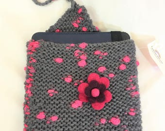 Hand knitted grey and pink ipad/tablet sleeve