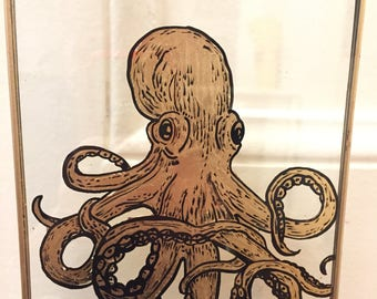 Octopus, bestiary on glass