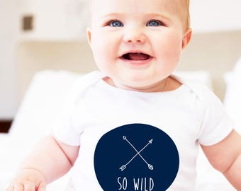 so wild clothing, baby wild clothing, wild child theme, so wild gift, wild child gift, navy blue and white, unisex onesie, one year old