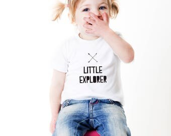 little explorer tshirt, gift for kids, unisex kids tshirt, two years old, three years old, nordic tshirt, kids tshirt