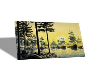 Canvas Canvas Prints-Rob Gonsalves-Sailing Island-Yellow BUS