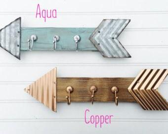 Arrow Hooks - Arrow Wall Decor - Arrows - Wooden Arrows - Metal Arrows - Bathroom Hooks - Jewelry Organizer - Key Hook - Office Organization