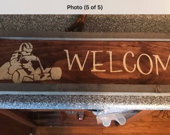 Farmhouse Racing Signs karting go kart welcome sign