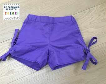 """Purple shorts with """"flakes"""""""