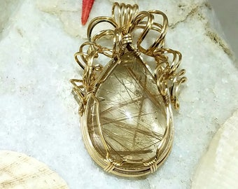 Rutilated Quartz Pendant, Gold Filled wire wrapped