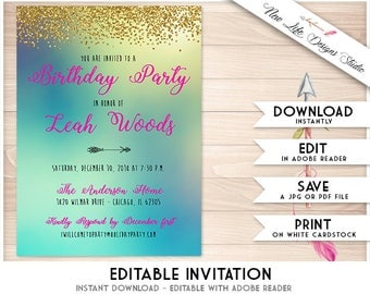 Mermaid Party Invitation, Editable Printable Mermaid Birthday Invite, Gold Glitter, Editable PDF INSTANT DOWNLOAD Blue, Green, Yellow, Pink