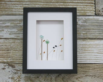 Sea Glass Art,Pebble Art,Pebble Art Birds,Rock Art,Framed art,Simple Decor,Mothers Day Gift,Unique Gift,OOAK,Art by M.McGuinness!