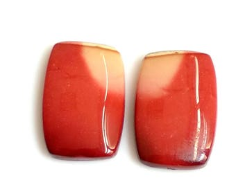 Mookite Jasper Rectangal Pair Cabochon,Size- 20x10 MM, Natural Mookite Jasper , AAA,Quality  Loose Gemstone, Smooth Cabochons.