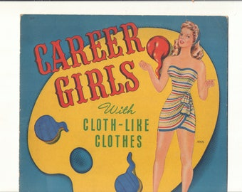 Vintage Forties Paper Doll Career Girls Cloth-Like Book: Doris Lane Butler