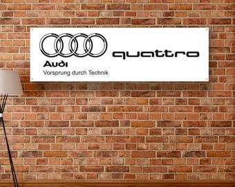 Audi Quattro Vinyl Banner Garage Poster Workshop Adversting Flag Poster Racing Car Poster Auto Poster Gift Wall Decor Art Sign