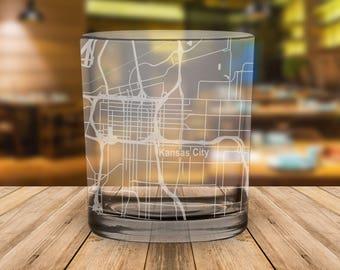 Kansas City Missouri Map Whiskey Glass Gift