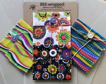 SNACK PACKS | 100% Cotton & PURE Beeswax | BEEwrapped Food Wrap