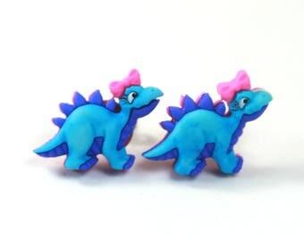 Blue Dinosaur earrings, Dinosaur studs, Pink blue earrings, Cute earrings, Dinosaur earrings