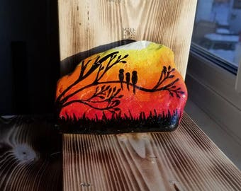Birds by the sunset Stone / Rock Painting( Painted Stone)