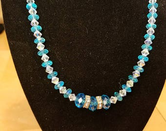 Turquoise and clear crystal necklace