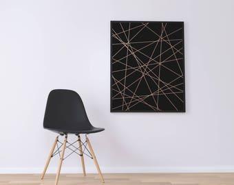 Rose gold print, Stripes Wall art, Download Print, Black Stripes print, Instant download, Printable Art, Digital Print, Black rose gold