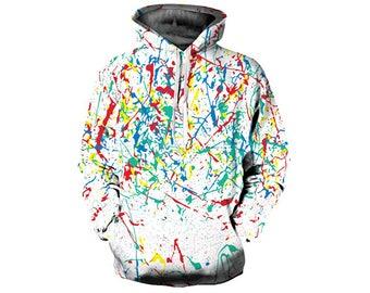 Paint Splat, Paint Hoodie, Painted Sweatshirt, Painting Clothes, Hoodie Art, Hoodie Pattern, Pattern Hoodie, Hoodie, 3d Hoodie - Style 9