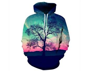 Tree Hoodie, Outdoor Hoodie, Tree Sweatshirt, Nature Hoodie, Art, Hoodie Art, Hoodie Pattern, Pattern Hoodie, Hoodie, 3d Hoodie - Style 14