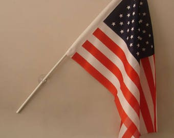 "custom made 10""X15"" american flag with pole and suction cup for windows. 25 US flags in one bundle"