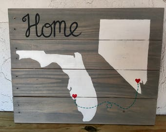 Florida / Nevada state sign, home Pallet wood sign