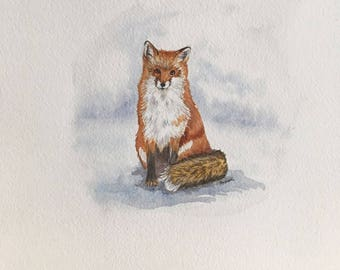 fox on the snow, original watercolor painting