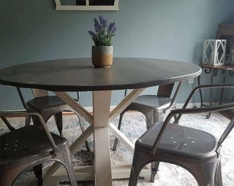 Rustic Round Trestle X Table