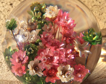 Beautiful Vintage Lucite Paperweight with Dried Flowers Daisyglas