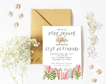 Spring floral baby shower invitation template printable custom