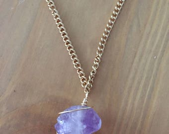 Purple Stone Wire Wrapped Necklace