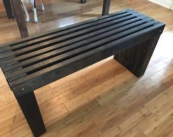 Handmade Custom Slatted Wooden Dining Table Bench   Boyer Woodcrafting