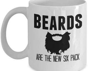 Beard Mug - Beards Are The New Six Pack - Beard Mugs For Men - Gag Gift For Men or Women - Quirky Gift for Men