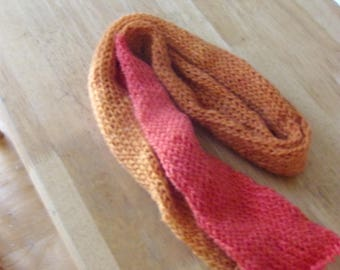 two tone loom knitted scarf