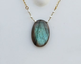Blue Fire Labradorite  Gemstone 18K Gold Plated Pendant Necklace With 26 Inches Chain Semi Precious Gemstone Pendant Necklace