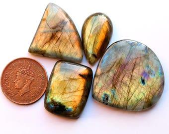 4pcs 199cts. 40x39mm 100% natural multi fire beautiful design labradorite Cabochon smooth hand polish jewelry making loos gemstone  SKU00179